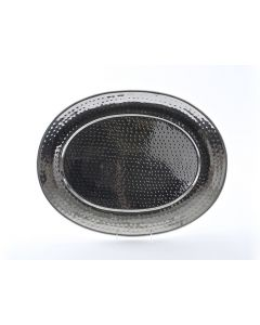 """15""""x20"""" Oval Stainless Steel Hammered Tray"""
