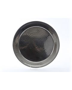 """18"""" Round Stainless Steel Hammered Tray"""