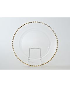 """Gold Beaded Service or Charger Plate 13"""""""