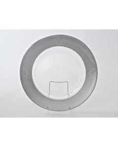 """Matte Ringed Silver Service or Charger Plate 13"""""""