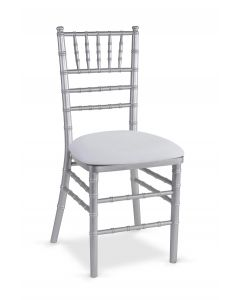 Silver Chiavari Chair with White Suede